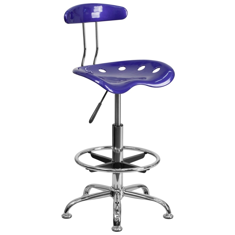Deep Blue And Chrome Bar Stool Height Drafting Stool with Tractor Seat