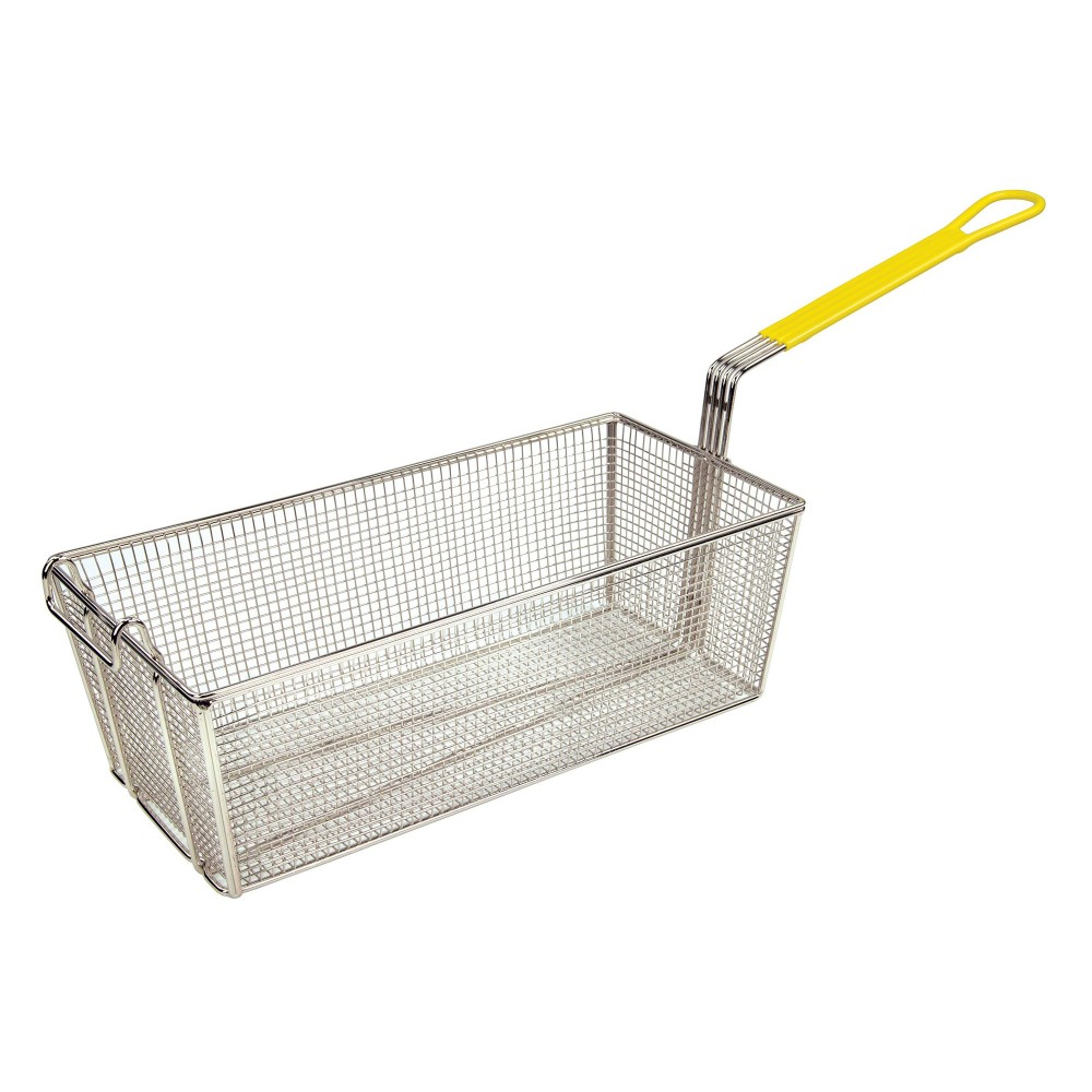 "Winco FB-40 Fry Basket with Yellow Plastic Handle 17"" x 8 1/4"" x 6"""