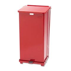 Defenders Biohazard Step Can, Square, Steel, 24 gal, Red