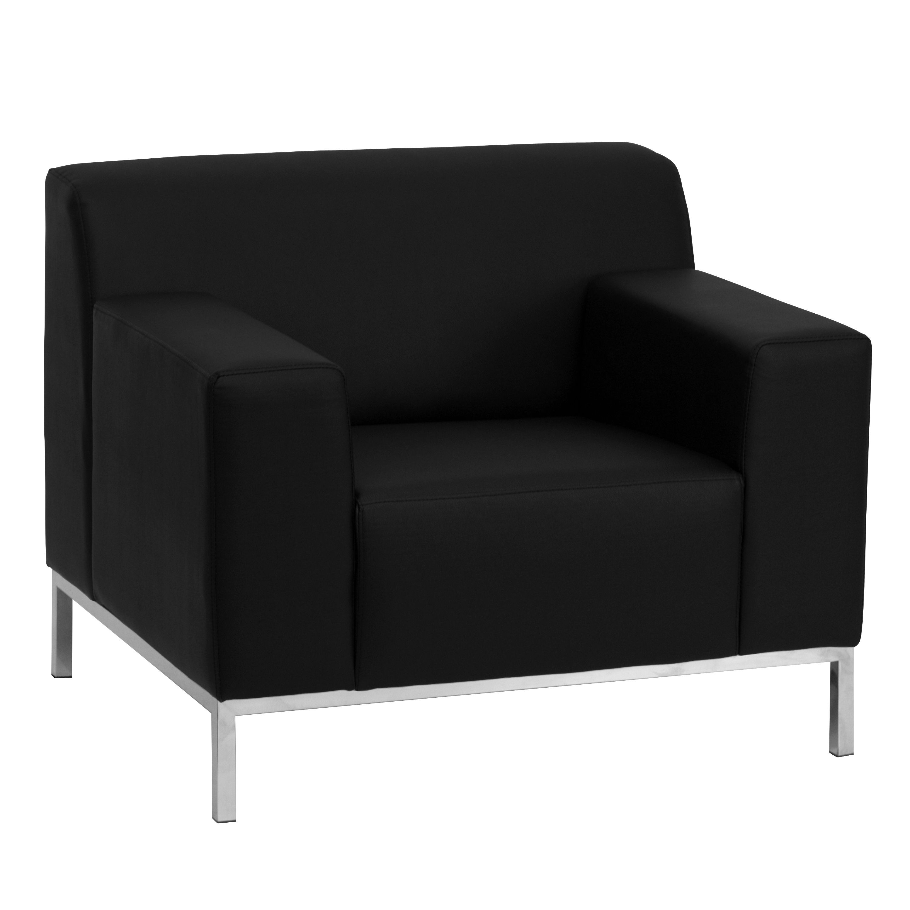 Flash Furniture ZB-DEFINITY-8009-CHAIR-BK-GG Definity Series Contemporary Black Leather Chair with Stainless Steel Frame