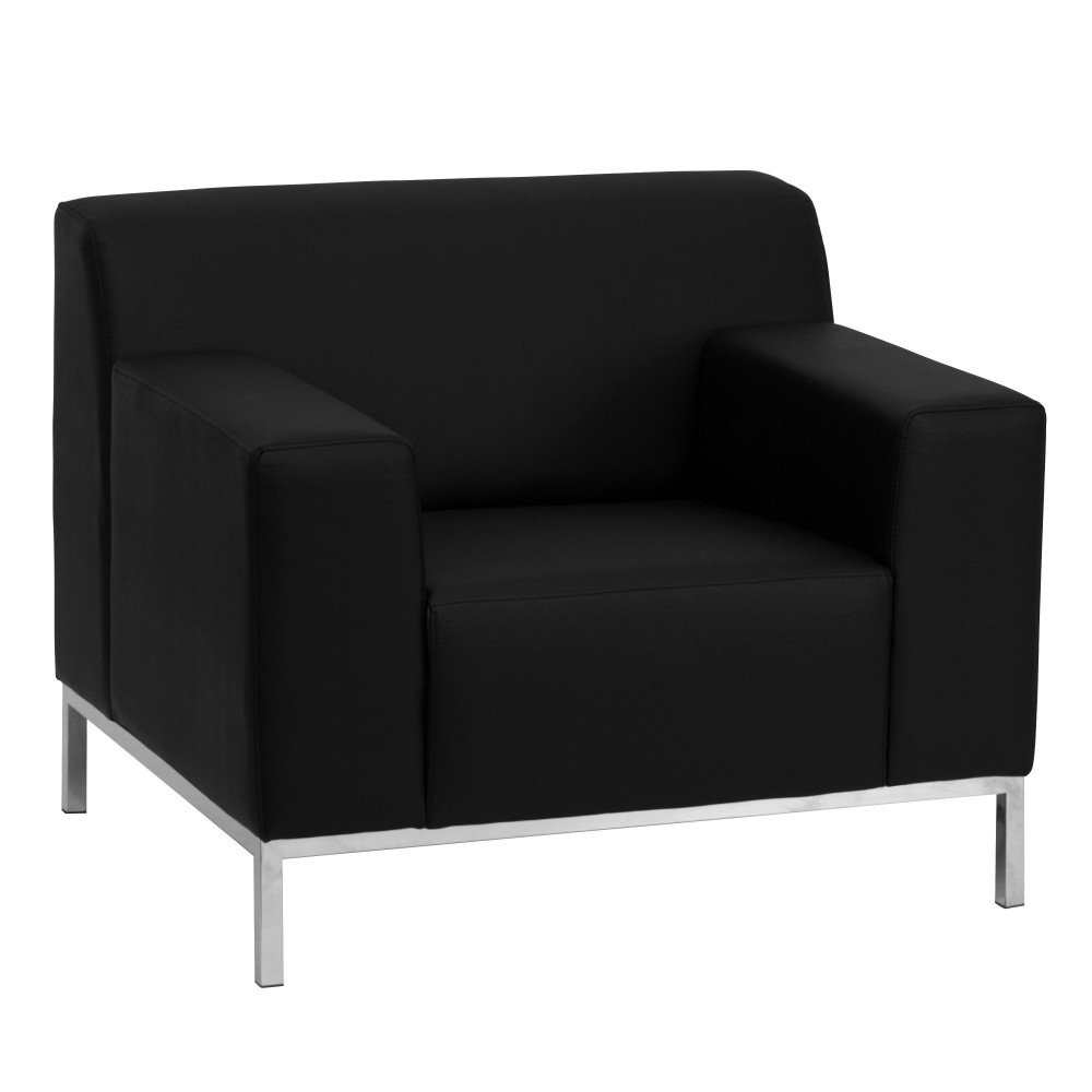 Definity Series Contemporary Black Leather Chair with Stainless Steel Frame