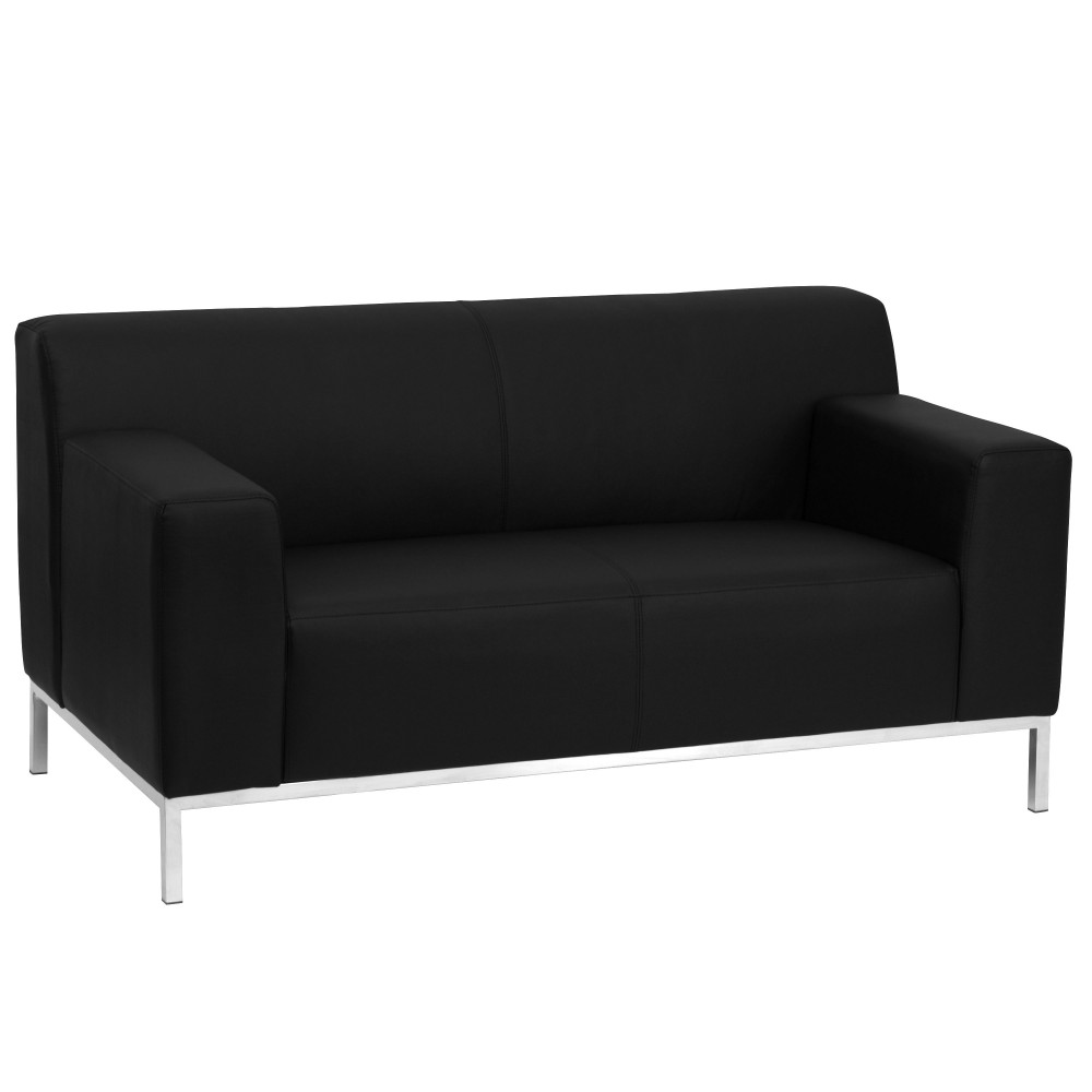 Flash Furniture ZB-DEFINITY-8009-LS-BK-GG Definity Series Contemporary Black Leather Love Seat with Stainless Steel Frame