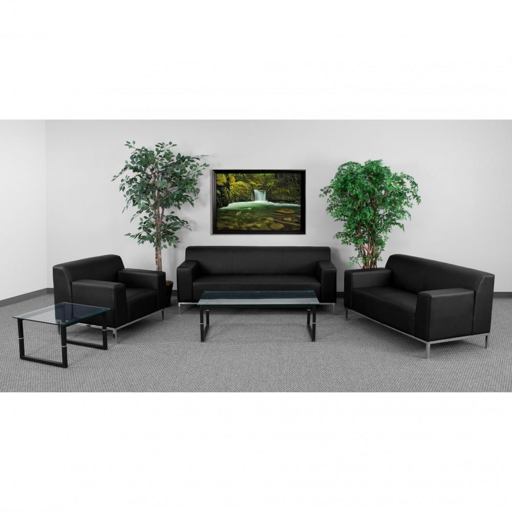 Flash Furniture ZB-DEFINITY-8009-SET-BK-GG Definity Series Reception Set
