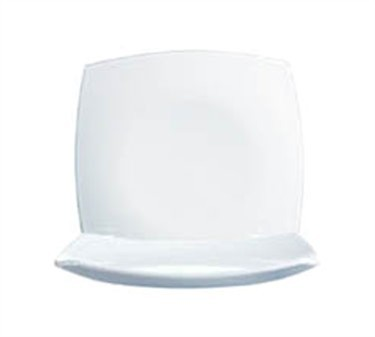Delice Square Glass Dinner Plate, 10-1/2' Dia., White