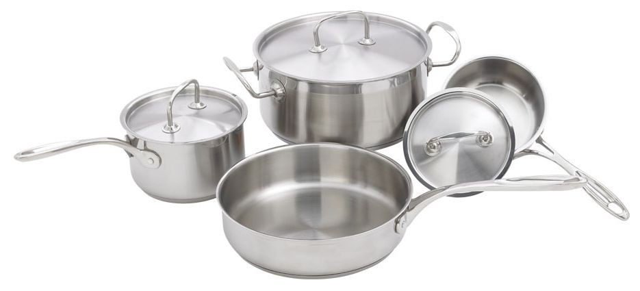 Winco SPC-7H Deluxe 7-Piece Stainless Steel Cookware Set