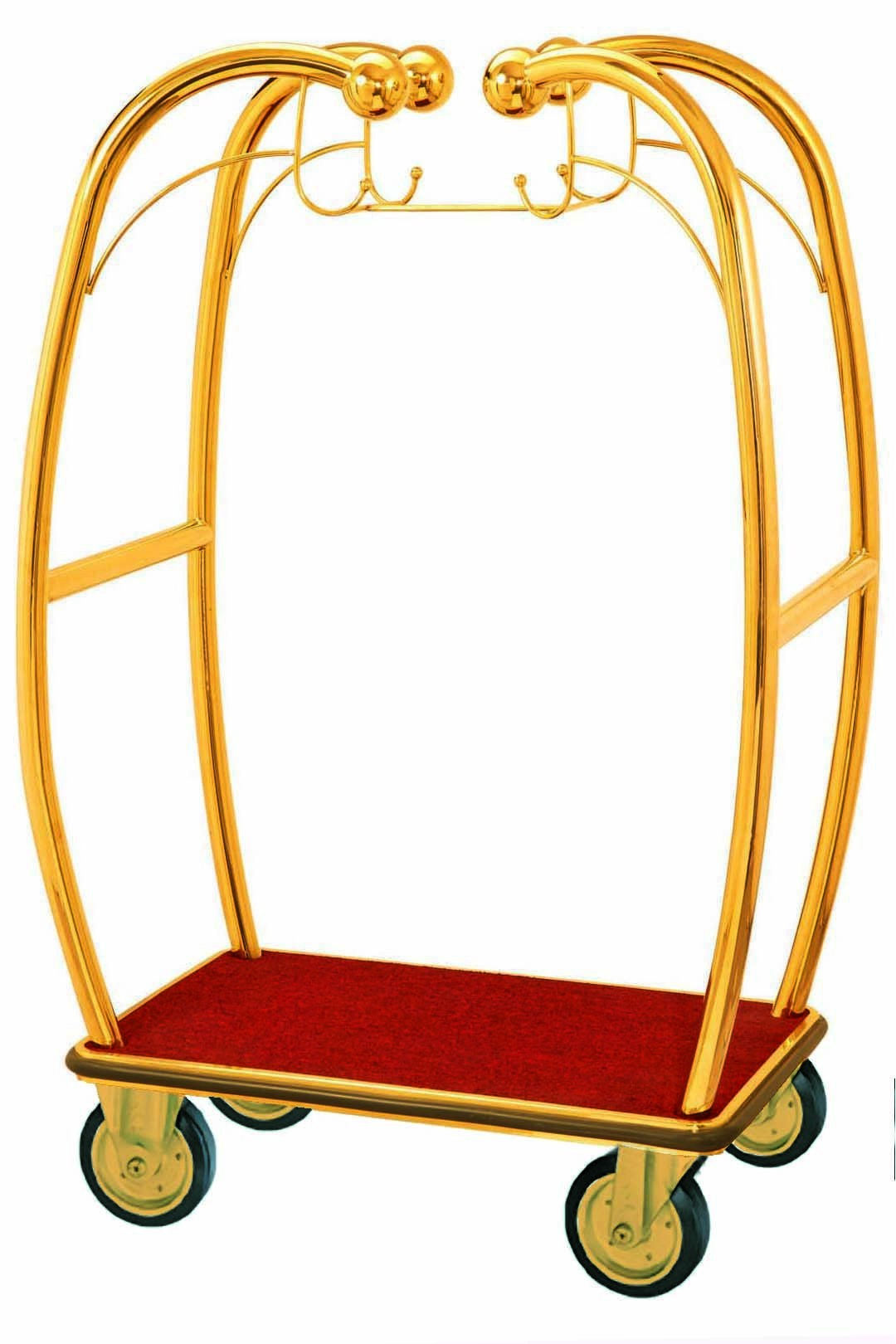 Aarco Products BEL-101B Bellman's Curved Luggage Cart, Brass Finish