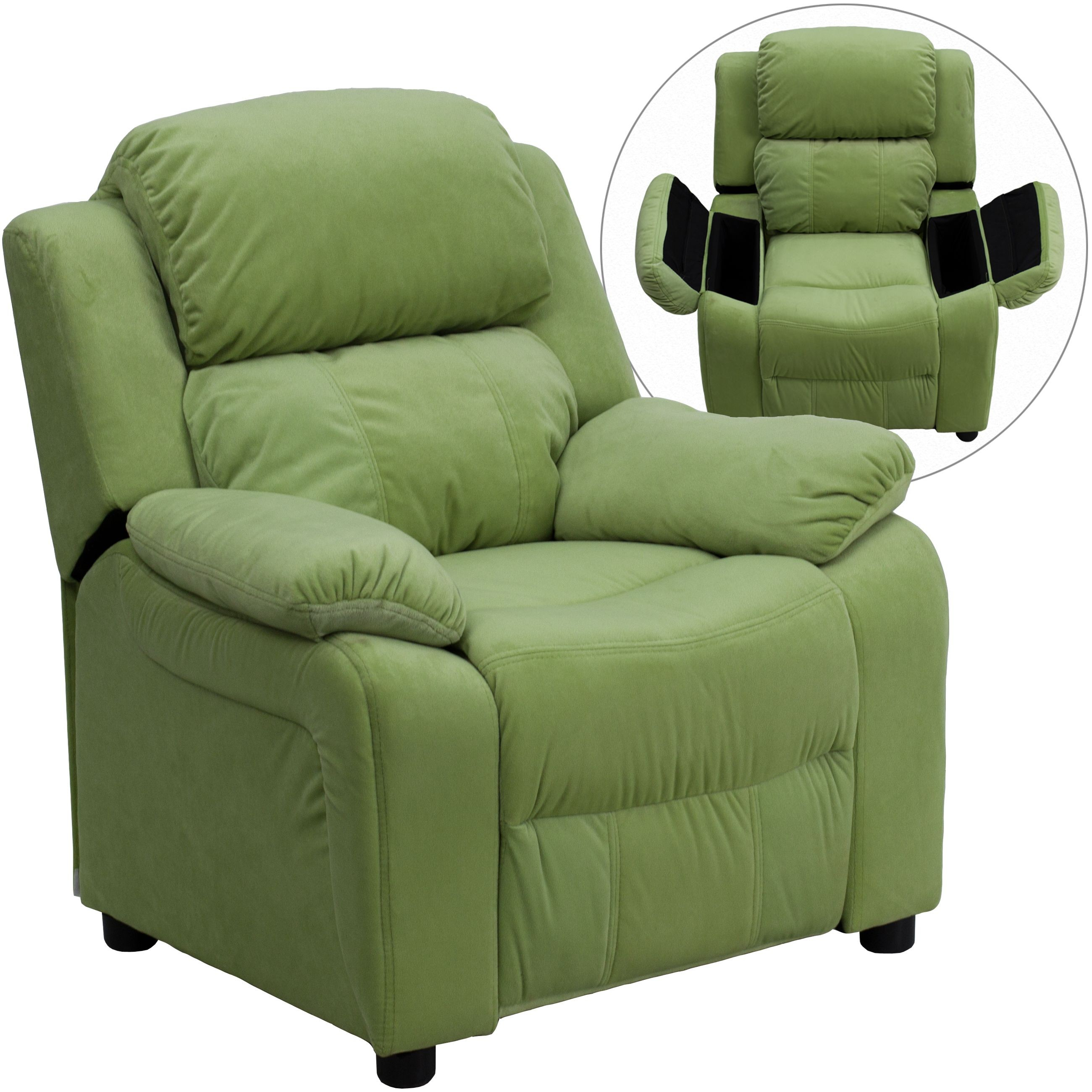 Deluxe Heavily Padded Contemporary Avocado Microfiber Kids Recliner with Storage Arms