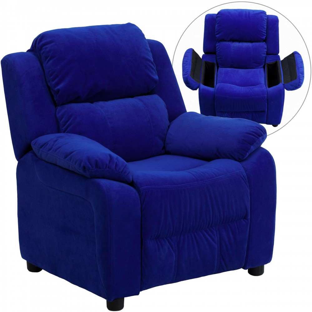 Deluxe Heavily Padded Contemporary Blue Microfiber Kids Recliner with Storage Arms