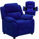 Flash Furniture BT-7985-KID-MIC-BLUE-GG Deluxe Heavily Padded Contemporary Blue Microfiber Kids Recliner with Storage Arms