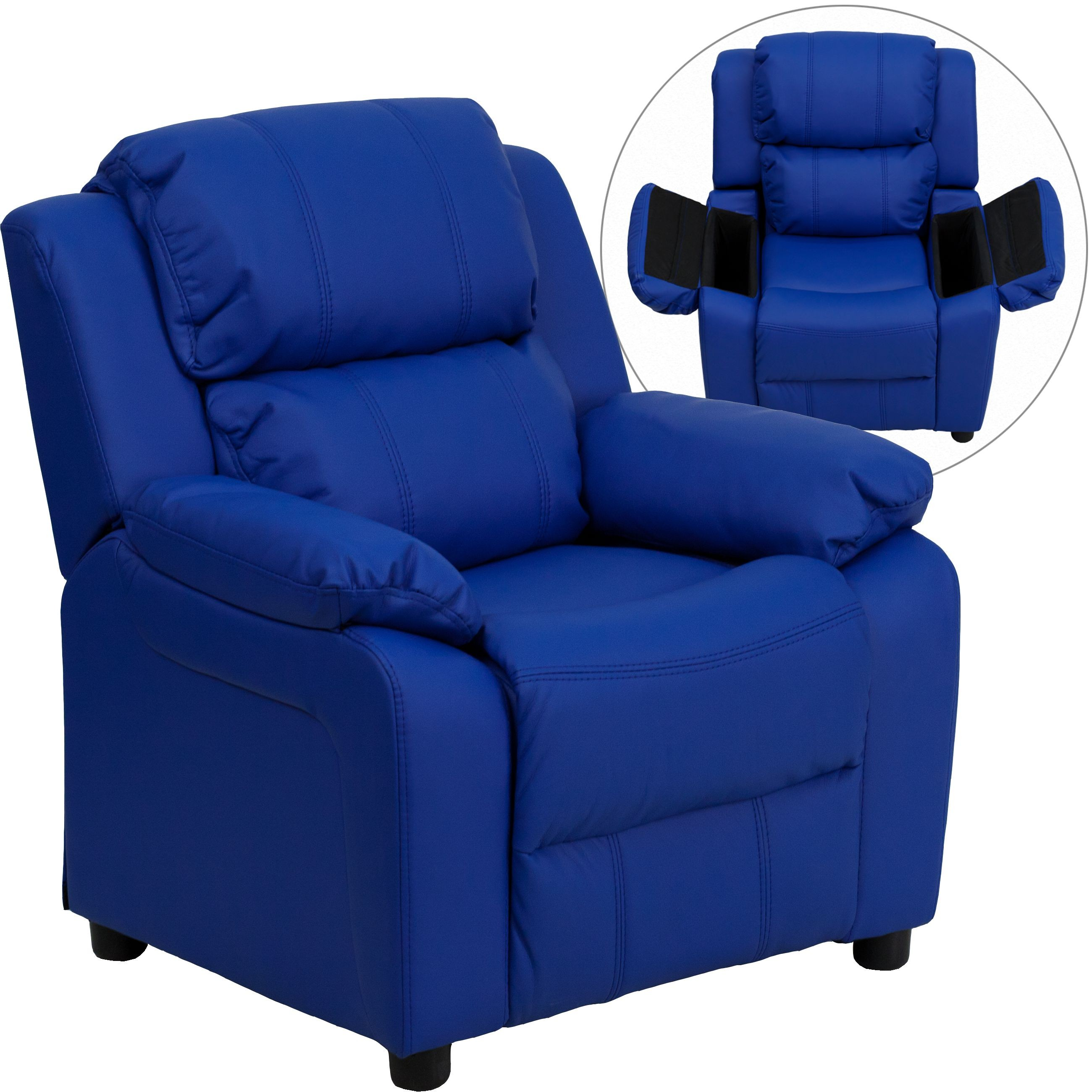 Flash Furniture BT-7985-KID-BLUE-GG Deluxe Heavily Padded Contemporary Blue Vinyl Kids Recliner with Storage Arms