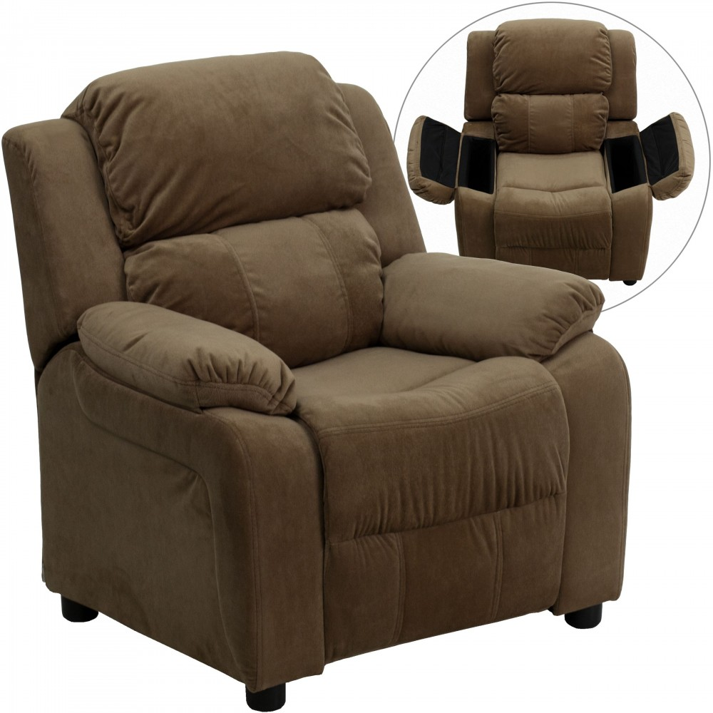 Flash Furniture BT-7985-KID-MIC-BRN-GG Deluxe Heavily Padded Contemporary Brown Microfiber Kids Recliner with Storage Arms