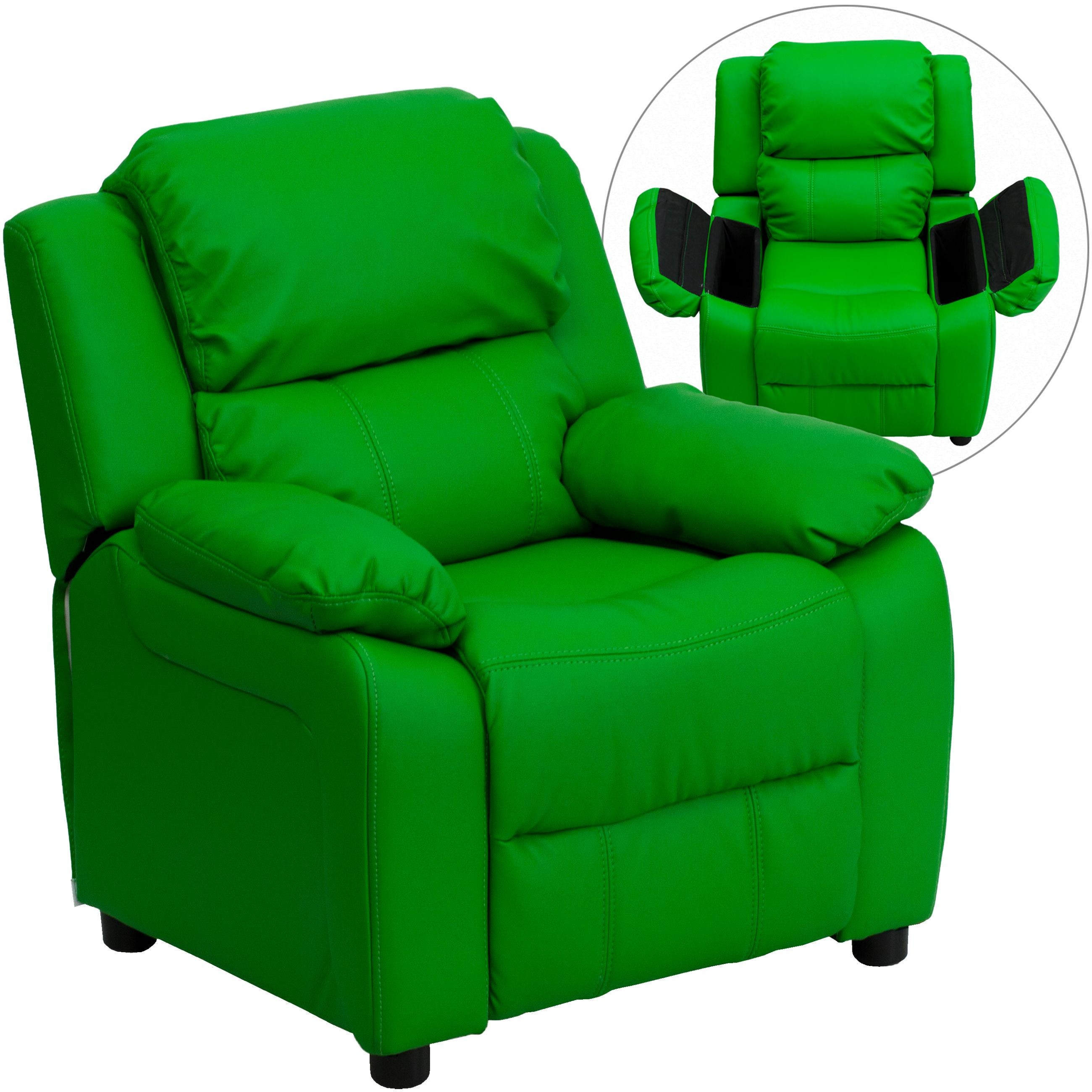 Deluxe Heavily Padded Contemporary Green Vinyl Kids Recliner with Storage Arms