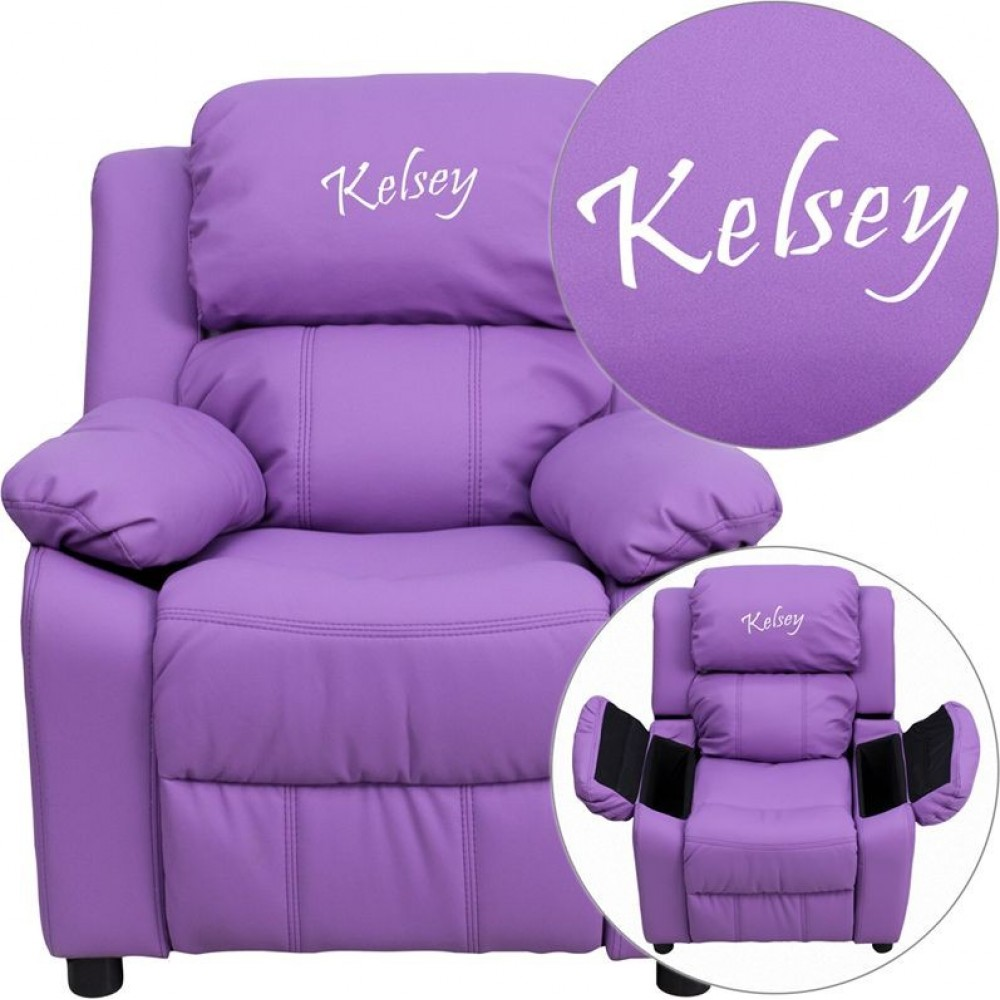 Flash Furniture BT-7985-KID-LAV-GG Deluxe Heavily Padded Contemporary Lavender Vinyl Kids Recliner with Storage Arms