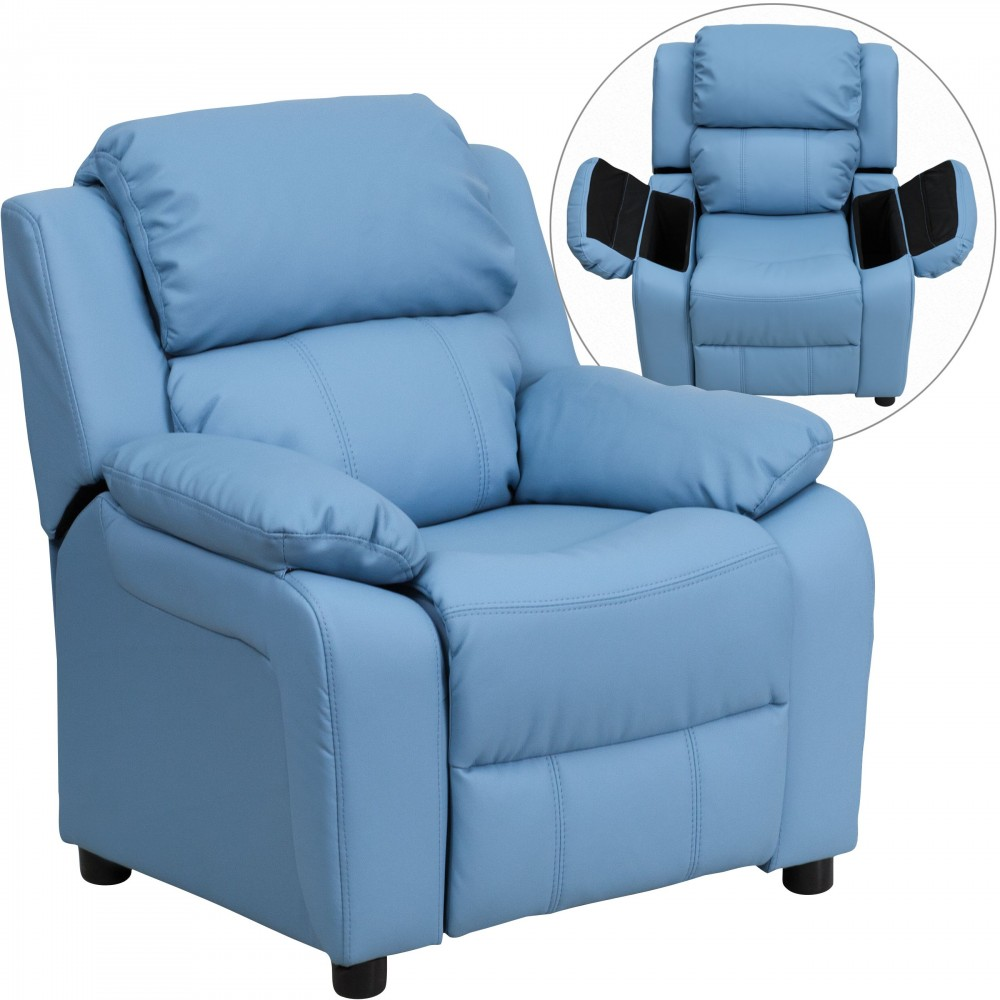 Flash Furniture BT-7985-KID-LTBLUE-GG Deluxe Heavily Padded Contemporary Light Blue Vinyl Kids Recliner with Storage Arms