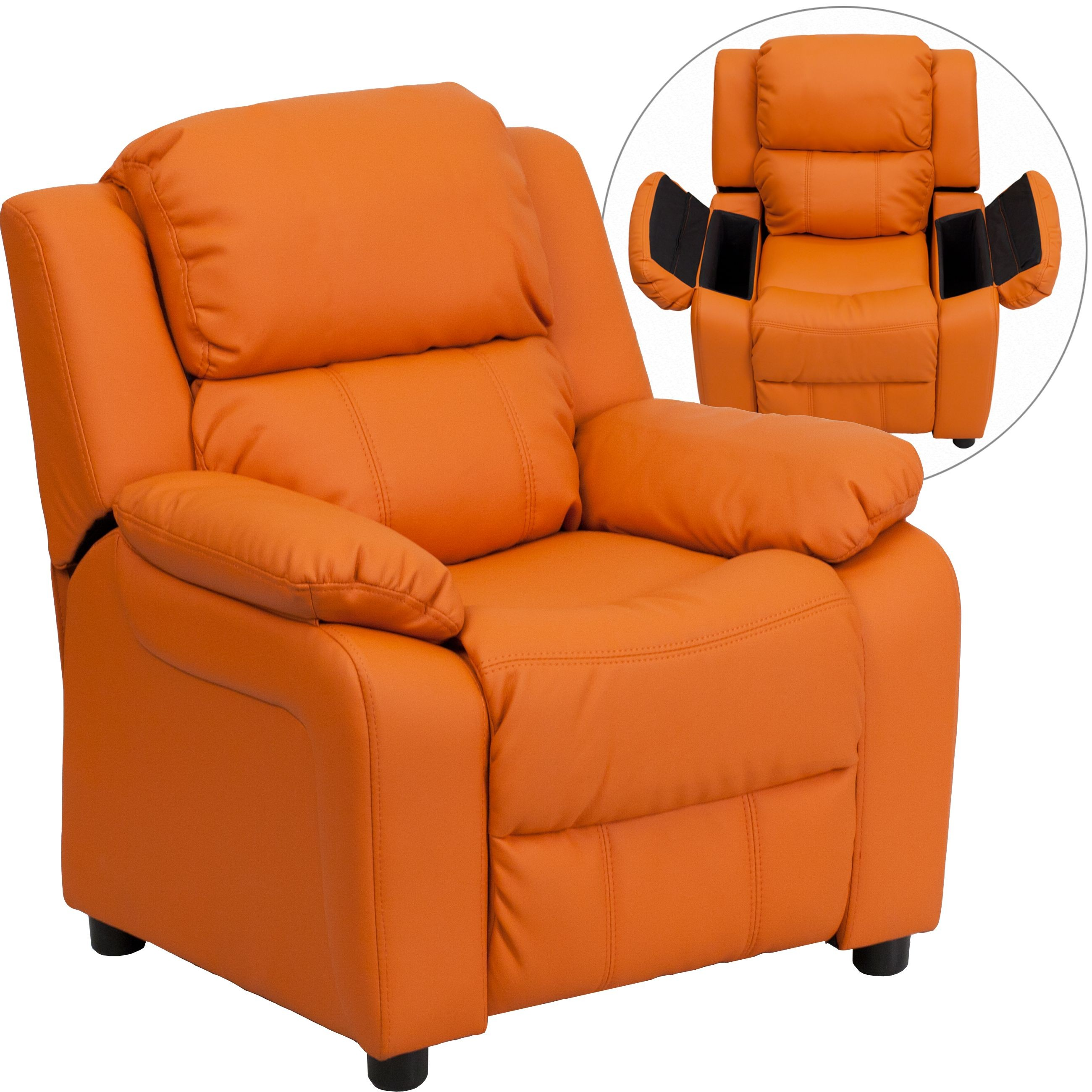 ... Recliner With Storage Arms. Personalize This! Flash Furniture  BT 7985 KID ORANGE GG Deluxe Heavily Padded Contemporary Orange