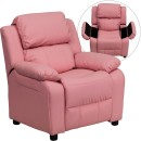 Flash Furniture BT-7985-KID-PINK-GG Deluxe Heavily Padded Contemporary Pink Vinyl Kids Recliner with Storage Arms