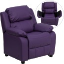 Flash Furniture BT-7985-KID-PUR-GG Deluxe Heavily Padded Contemporary Purple Vinyl Kids Recliner with Storage Arms
