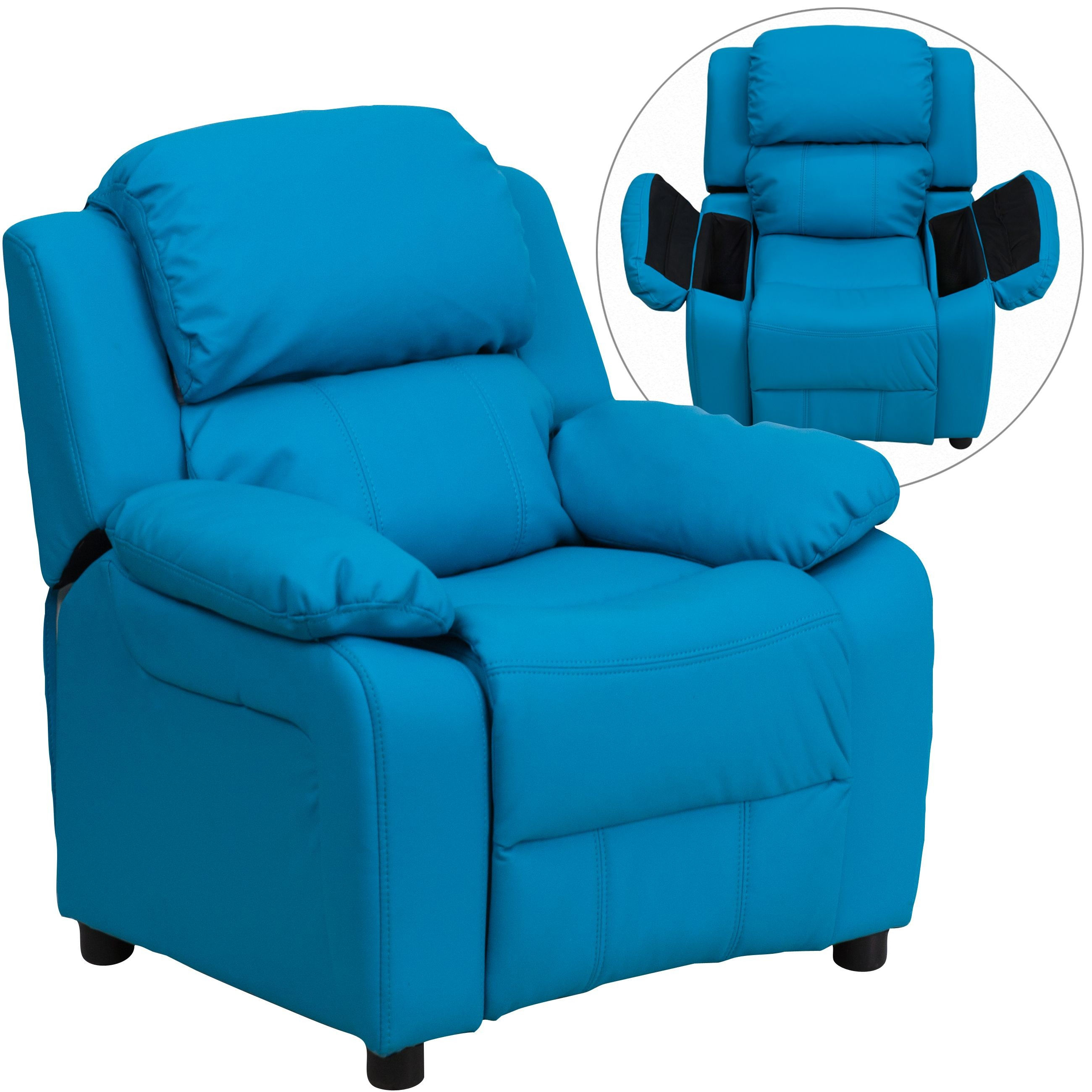 Flash Furniture BT-7985-KID-TURQ-GG Deluxe Heavily Padded Contemporary Turquoise Vinyl Kids Recliner with Storage Arms