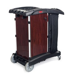 Deluxe Paneled Compact Housekeeping Cart, 22w x 38 1/4d x 44h, Black