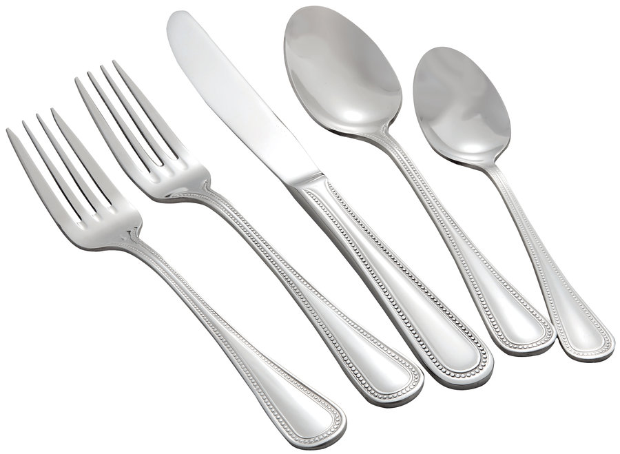 Winco PEARL-HVY Deluxe Pearl Extra Heavy Weight 5-Piece Place Setting for 12 (60/Pack)