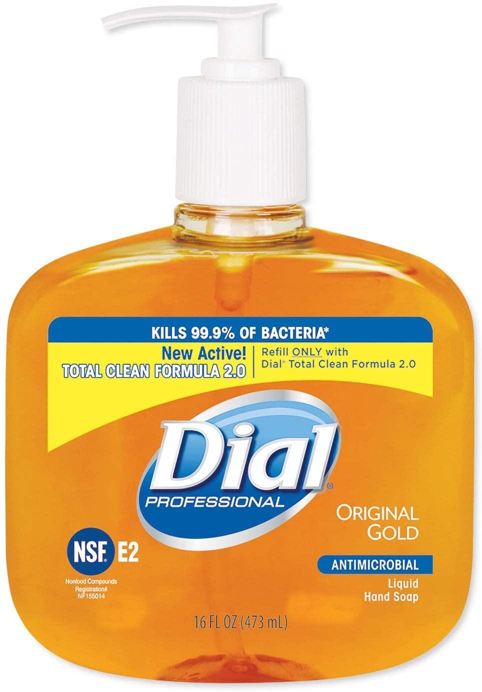 Dial Gold Antimicrobial Hand Soap, Floral, 16 oz. Pump Bottle, 12/Carton