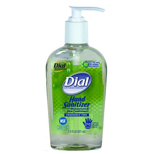 Dial Instant Hand Sanitizer with Moisturizers, Pump Bottle 7.5 Oz, 12/Carton