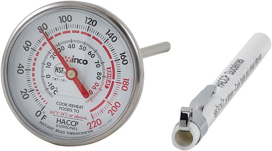 Winco TMT-IR1 Pocket Instant Read Dial-Type Thermometer with Case/Clip