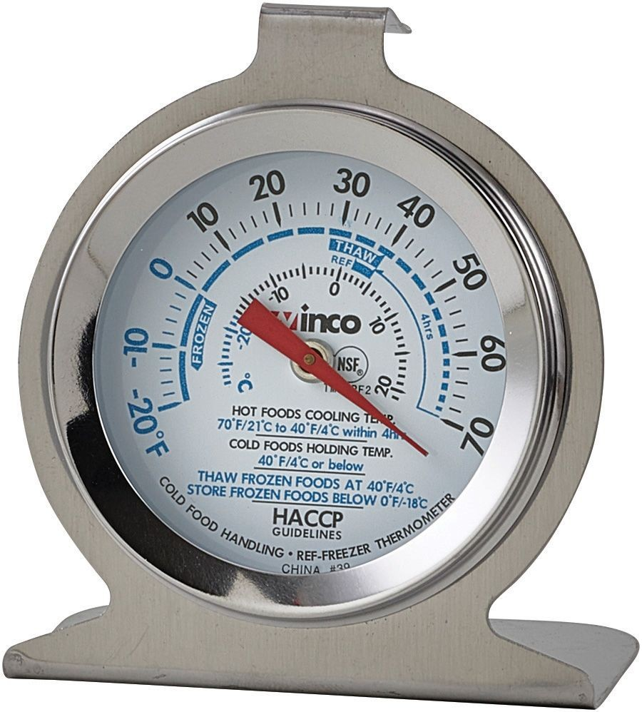 "Winco TMT-RF2 Refrigerator/Freezer Thermometer, Dial-Type, 2"", -20 To 70 F"
