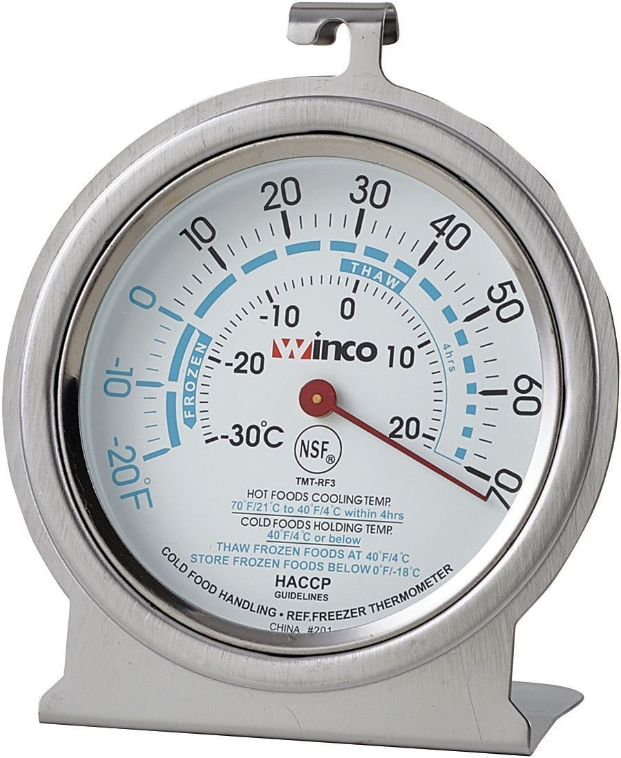 "Winco TMT-RF3 Refrigerator/Freezer Thermometer, Dial-Type, 3"", -20 To 70 F"