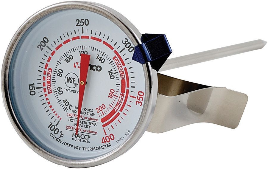 Winco TMT-CDF2 Candy/Deep Fry Thermometer, Dial Type with Stem 2""