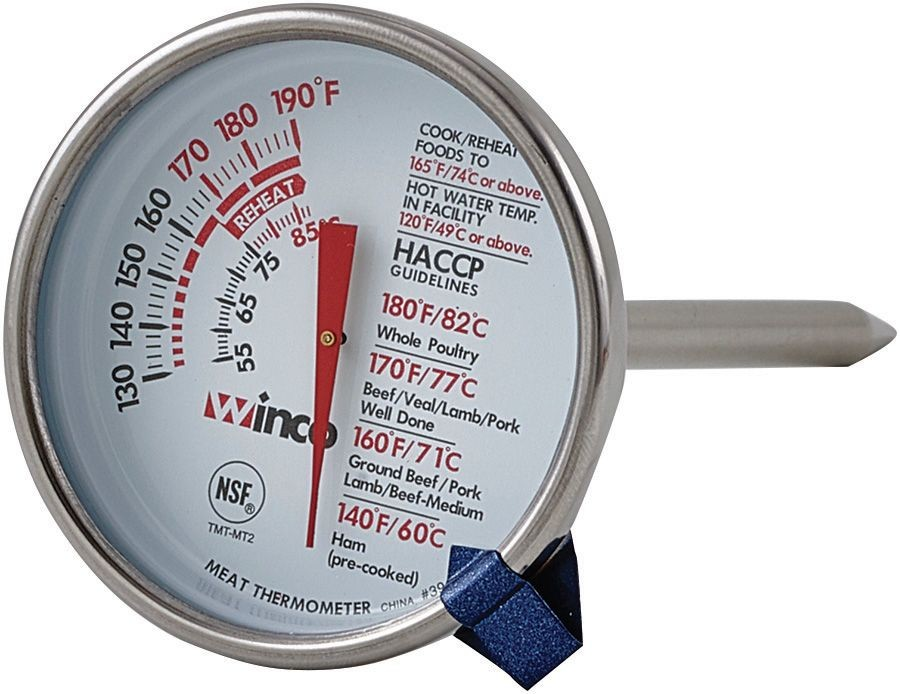Winco TMT-MT2 Dial-Type Meat Thermometer with Stem, 2""