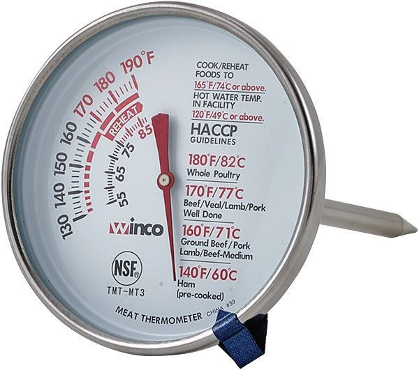 Winco tmt-mt3 Dial-Type Meat Thermometer with Stem, 3""