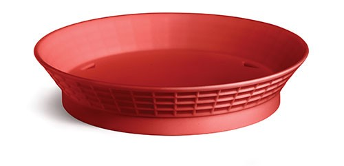 """TableCraft 157512R Red Plastic Diner Platter with Base, 12"""""""