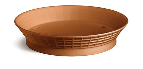 TableCraft 157512TC Terra Cotta Plastic Diner Platter with Base, 12""