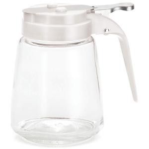 TableCraft 1371W Modern Glass 12 oz. Syrup Dispenser with White ABS Top