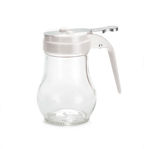 TableCraft 406W Teardrop Glass 6 oz. Syrup Dispenser with White ABS Top