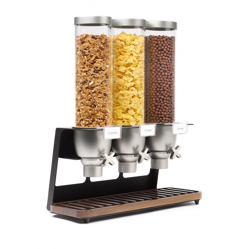 Dispensers & Black Matte Metal Stand, Walnut Color Catch Tray & Sign Holders- 9