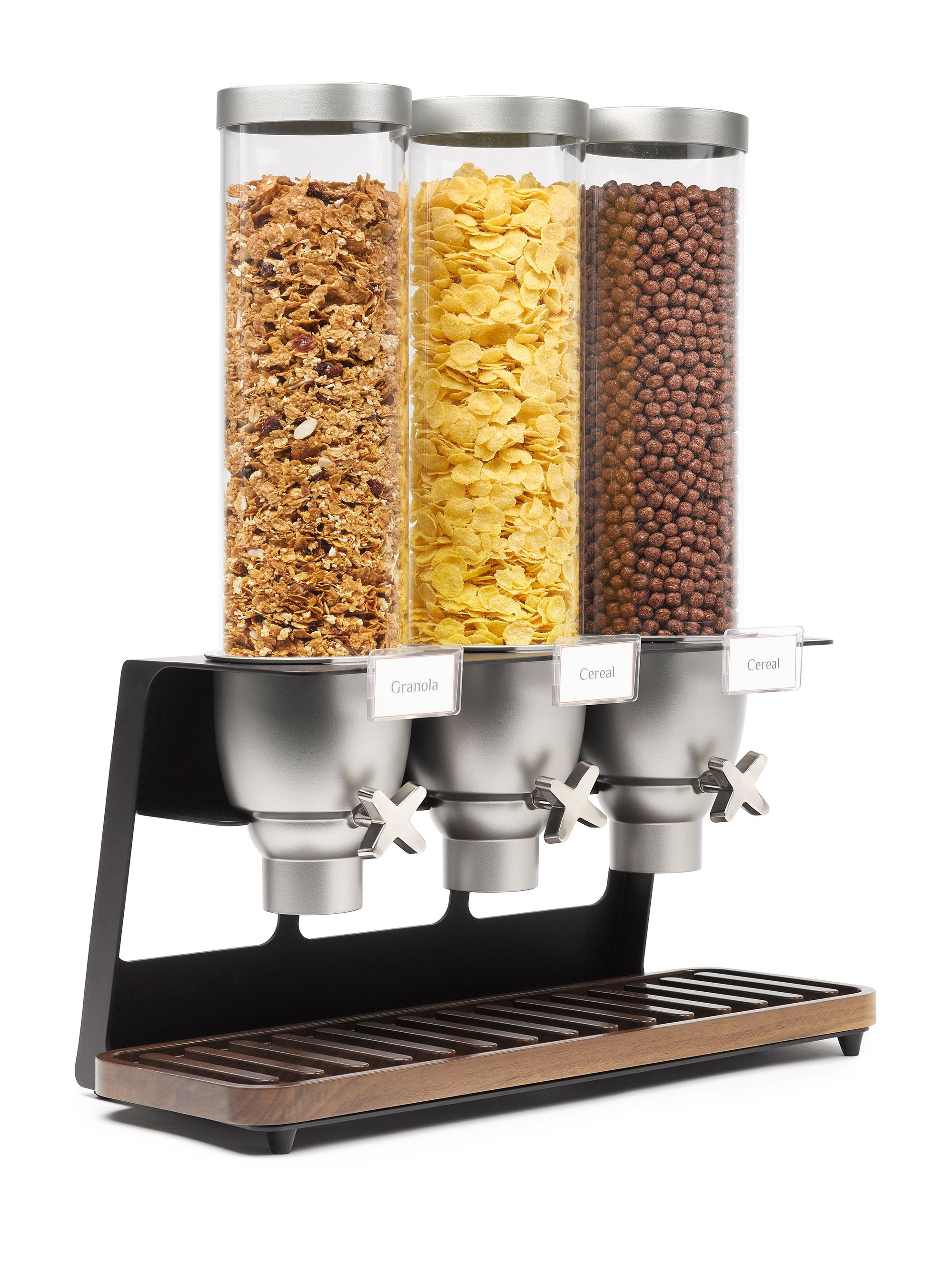 Rosseto EZ520 EZ-SERV Triple Table Top Dispenser With Walnut Tray (1.3 Gallons Each)