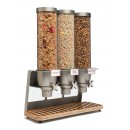 Rosseto EZ547 EZ-SERV Triple Table Top Dispenser With Bamboo Tray  (1.3 Gallons Each)