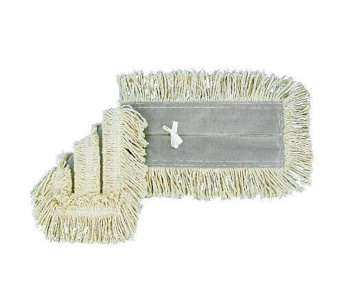 Disposable Dust Mop Head with Sewn Center Fringe, Cotton/Synthetic, 24w x 5d, White
