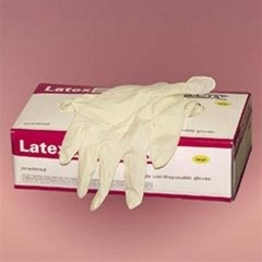 Disposable General Purpose Rubber Latex Gloves, Powdered, Small, 100/Box