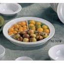Thunder Group NS701W Nustone White Melamine Deep 3-Compartment Plate 8-3/4""