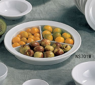 """Thunder Group NS701W Nustone White Melamine Deep 3-Compartment Plate 8-3/4"""""""
