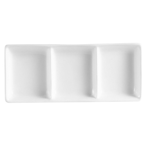 "CAC China CN-D3 Accessories 3-Compartment Rectangular Sauce Dish 7 1/4"" x 3 1/2"""