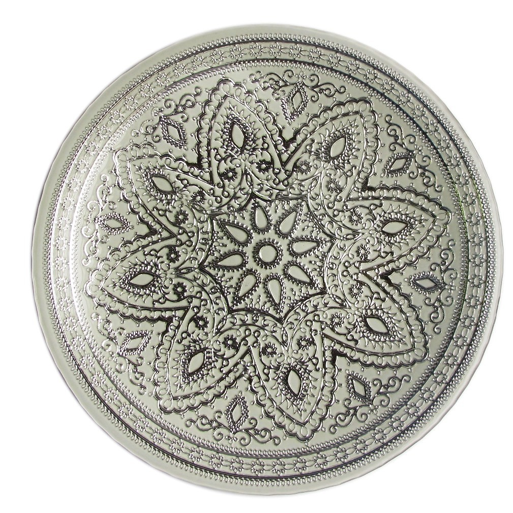 "Jay Import 1900052 Divine Silver Glass 13"" Charger Plate"