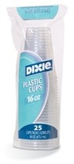 Dixie Foodservice Clear Cold Plastic Cups, 16 oz., WiseSize Pack, 25/Bag (Box of 500)
