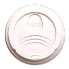 Dixie Foodservice Dome Drink-Thru Lids, Fits 10, 12 & 16 oz. Paper Hot Cups, White (Box of 500)