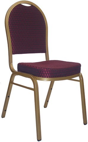 Dome Back Stacking Banquet Chair with Gold Frame