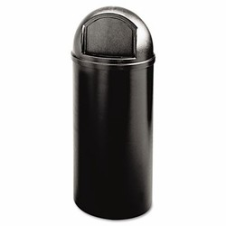 Dome Top Trash Receptacle with Hinged Door, 15 Gallon, Black
