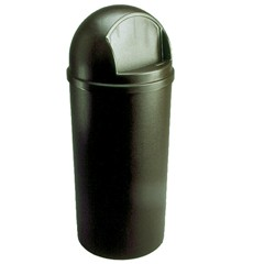 Dome Top Trash Receptacle with Hinged Door, 15 Gallon, Brown